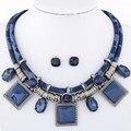 Moda Conjuntos de Jóias de Resina Cristal Collares Colares Quadrados & Brincos Set Colar Para mulheres Conjunto de Jóias Collier Femme
