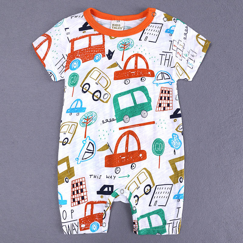 HTB1rM8zXInrK1RjSspkq6yuvXXaT 2019 Cartoon Baby Onesies Summer Cotton Romper Boy Girls 0-24 Months Kids Clothes Knitted Cartoon Short-sleeved Jumpsuit Outfits