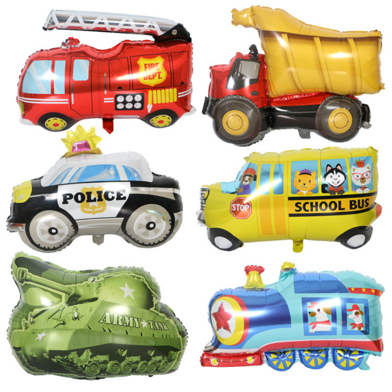 Large Size Train Tank Vehicle Foil Balloons Birthday Kindergarton Decoration Globos Party Inflatable Toy Ball Air Balloons
