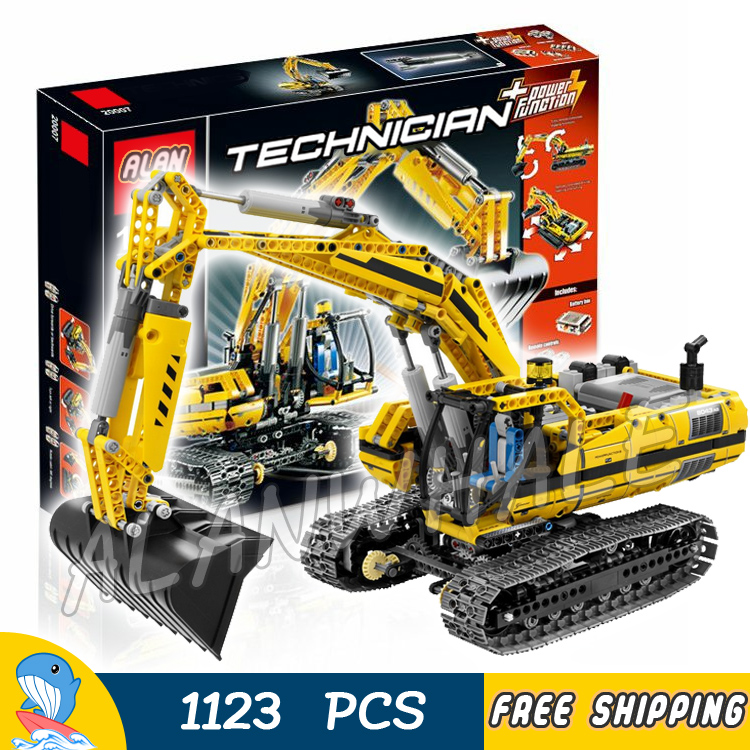 1123pcs New Techinic Remote Controlled Motorized Excavator 20007 DIY Model Building Kit Blocks Gifts Toys Compatible With lego 11types techinic power functions motorized moc m l xl servo motor battery box model building blocks toy set compatible with lego