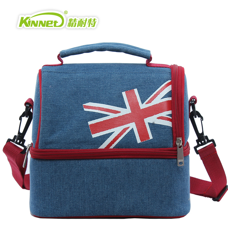 kinnet thermal bag double layers insulated cooler bag oxford aluminium foil shoulder lunch bag pouch for