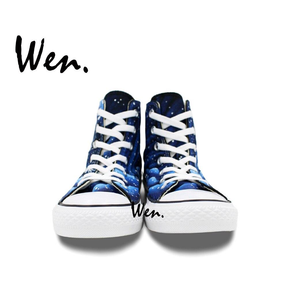 Wen Dizayn Xüsusi Əl Boyalı Ayaqqabılar Mavi Galaxy Tardis - İdman ayaqqabıları - Fotoqrafiya 4
