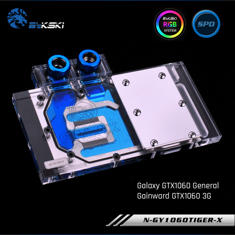 Bykski N GY1060TIGER X Full Cover Graphics Card Water Cooling Block RGB RBW for Galaxy GTX1060