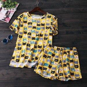 Image 5 - Lato piękne 100% bawełniane spodenki z krótkim rękawem zestaw piżamy wokół szyi drukowanie kreskówki kobiety Pijama Loungewear domowa bielizna nocna