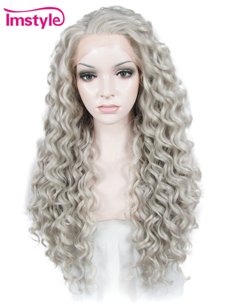 Imstyle Deep Wave Synthetic Wig Gray Color 26 Inches Lace Front Wigs for Women Cosplay H ...
