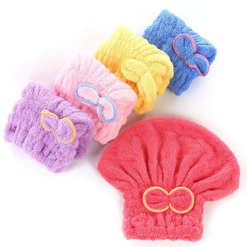 Head Wrap Hats Bathroom Supplies Coral Velvet Bathing Cap 25*30cm Dry Hair Hat Super Absorbent Quickly Dry Hair Turban