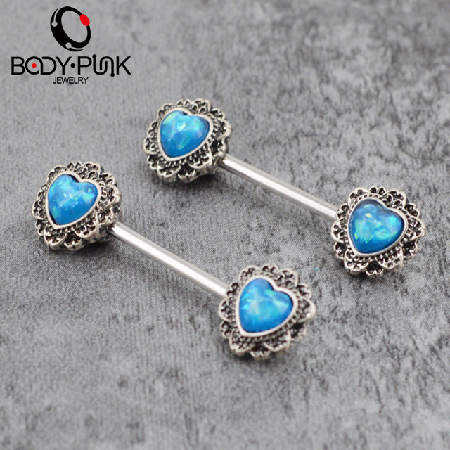 BODY PUNK 6 Colors Nipple Piercing Trendy Sexy Barbell Heart-shaped Opal Nipple Shield Rings Polished Body Fake Piercing Jewelry