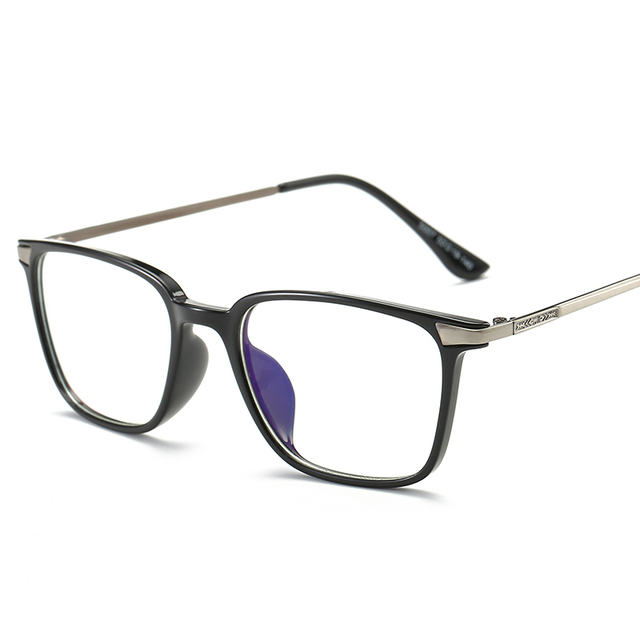 7f8cdadc24 Square Eyeglasses Myopia Glasses Frame Black TR90 Titanium Computer Glasses  With Clear Lens Optical Protection Eyewear