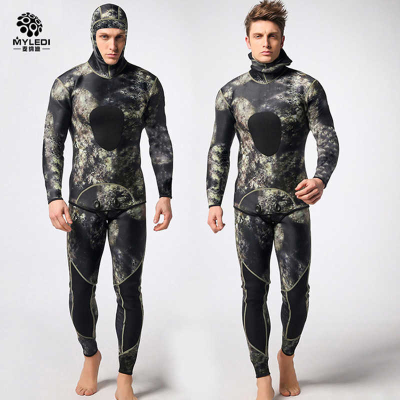 Neoprene Diving Suit  3mm Mens Split Two Piece Long Sleeve Camouflage Anti Cold Warm Wetsuit Surf  SwimsuitNeoprene Diving Suit  3mm Mens Split Two Piece Long Sleeve Camouflage Anti Cold Warm Wetsuit Surf  Swimsuit