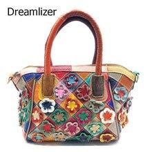 Dreamlizer Einzigartige Blume Design Echte Lederne Beutel Handtaschen Hochwertige Weibliche Muster Totes Mode Frauen Messenger Dame