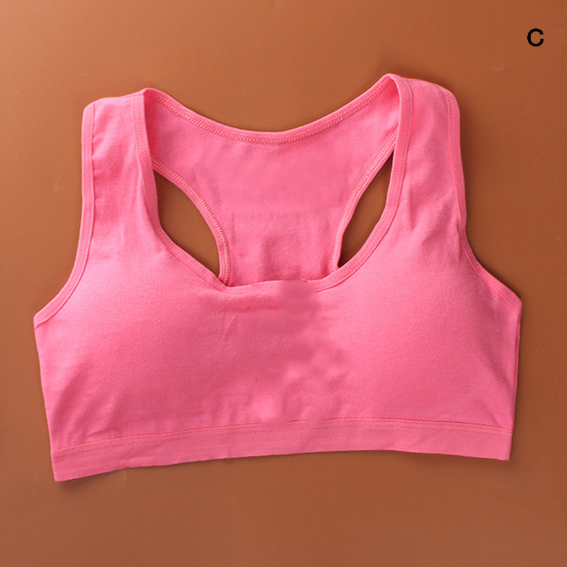 Hot Sale Girl Bra Solid Color Breathable Solid Color Young Girls Cotton Underwear For Sport Wireless Small Training Puberty Bras