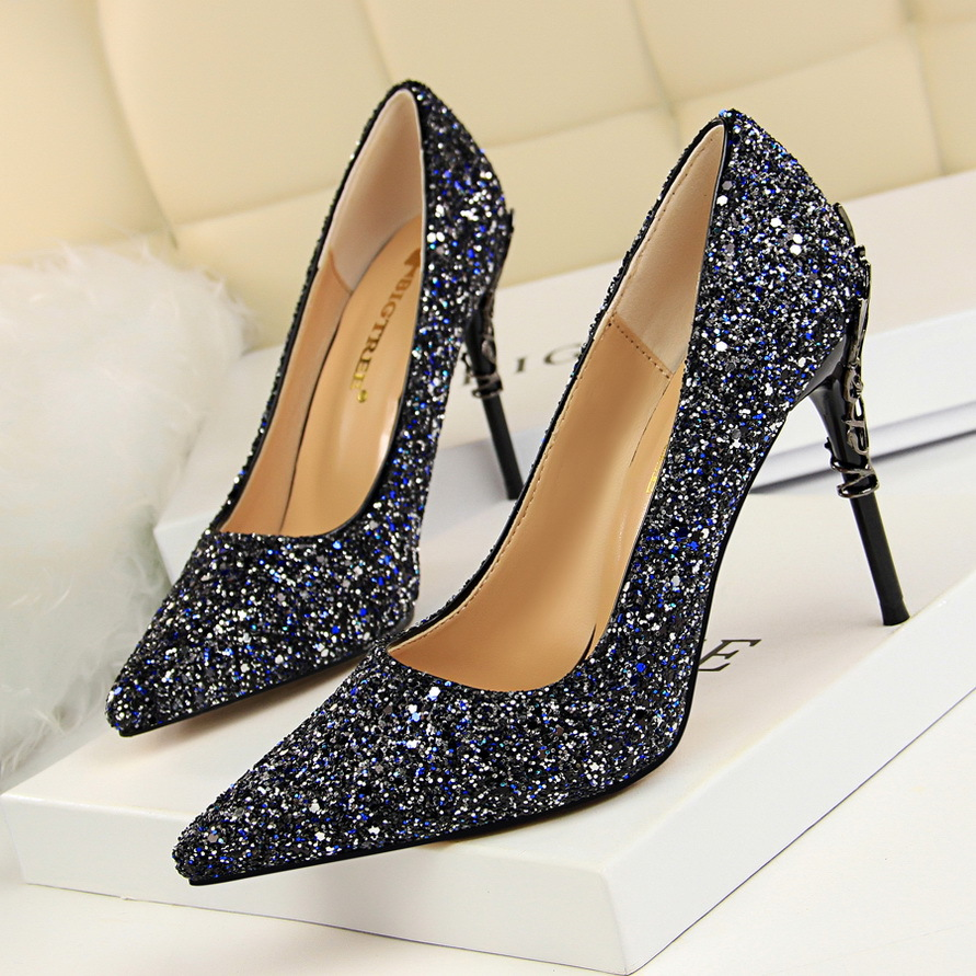 Women Pumps Bling High Heels Women Pumps Glitter High Heel Shoes Woman Sexy Wedding Shoes Gold Silver Black9219-12 pretty girl in the lavender field oil painting