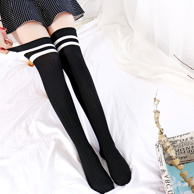 038ba95c1 Titmsny 2018 New Black White Gray Navy blue Girls Ladies Over Knee Socks  Plain Striped High