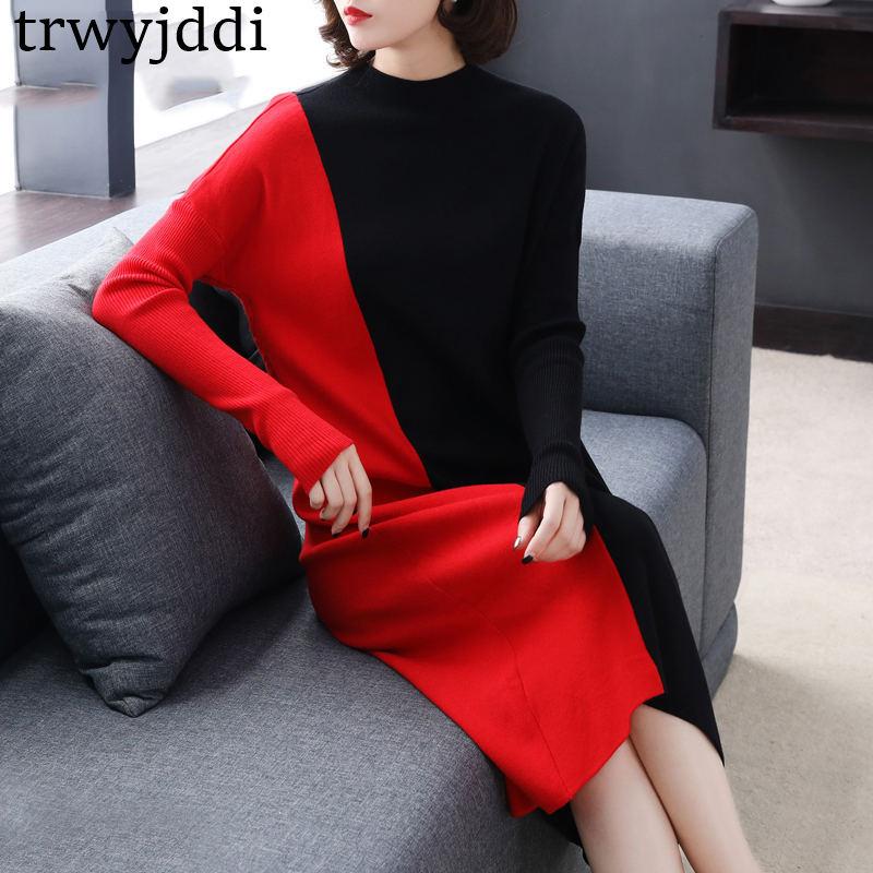 Del Più Se Formato Elegante Vestito Maglia Donne Il Allentate Red Cuciture Maglioni Lungo Delle Inverno Modo Di N111 2018 Autunno xing Nuovo qBOxA1FZ