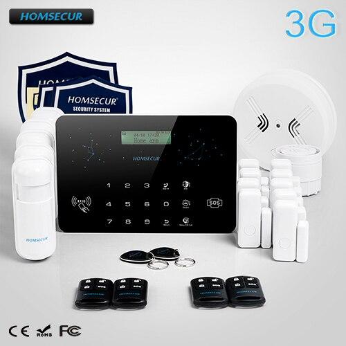 HOMSECUR Wireless&Wired LCD 3G/WCDMA RFID Burglar Intruder Alarm System LC03-3G homsecur wireless lcd 3g wcdma rfid burglar pet immune friendly alarm system la02 3g