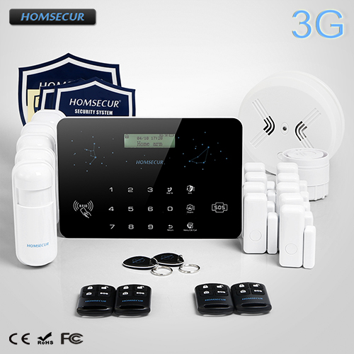 HOMSECUR Wireless&Wired LCD 3G/WCDMA RFID Burglar Intruder Alarm System LC03 3G