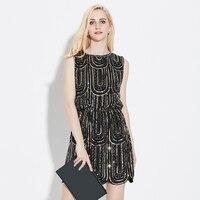 WomenQIYUN. Z Marka 2017 Kolsuz Sequins Elbise Moda akşam Parti elbise Kadın Vintage güzel Bahar Sequins Elbise