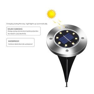 Image 2 - ضوء أرضي تعمل بالطاقة الشمسية حديقة المناظر الطبيعية مصباح حديقة 8 LEDs ضوء مدمج في الهواء الطلق الطريق الدرج التزيين الخفيفة مع جهاز استشعار الضوء