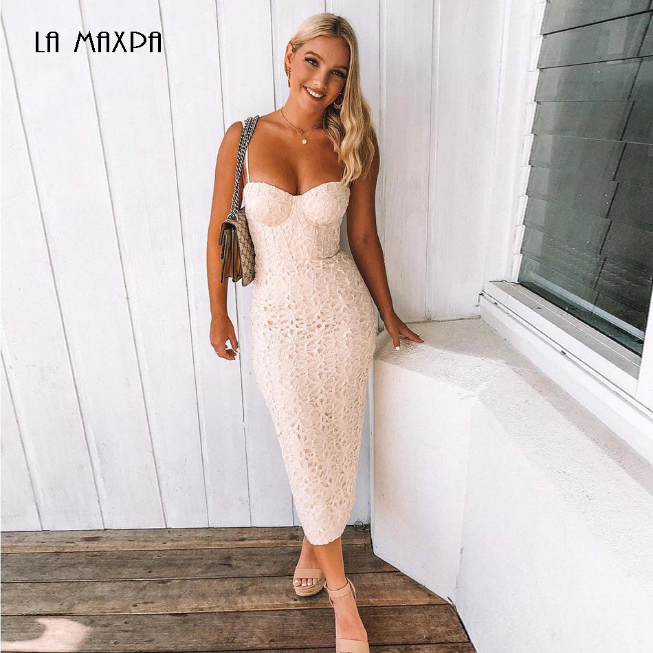 New Fashion Bandage Dress Women 2018 Elegant White Celebrity Party Dress Vestidos Sleeveless Bodycon Lace Club Dresses