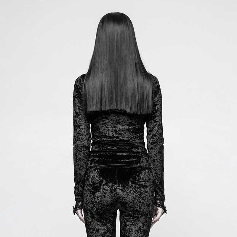 Панк рейв Готический бархат Необычные снежинки дамы рубашки с длинными рукавами вышивка кружева эластичная лента кожа цветок футболка женщина
