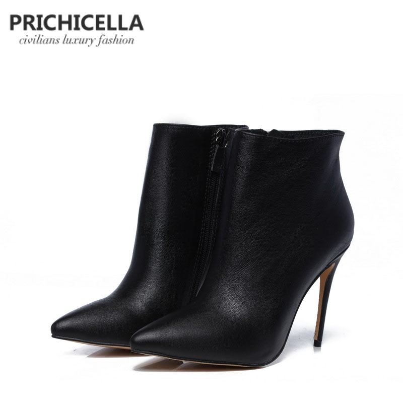 PRICHICELLA Quality women genuine leather winter boots pointed toe black stiletto heels ankle booties size34-42