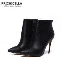 PRICHICELLA/качественные женские зимние ботинки из натуральной кожи с острым носком, Черные ботильоны на шпильках, size34-42