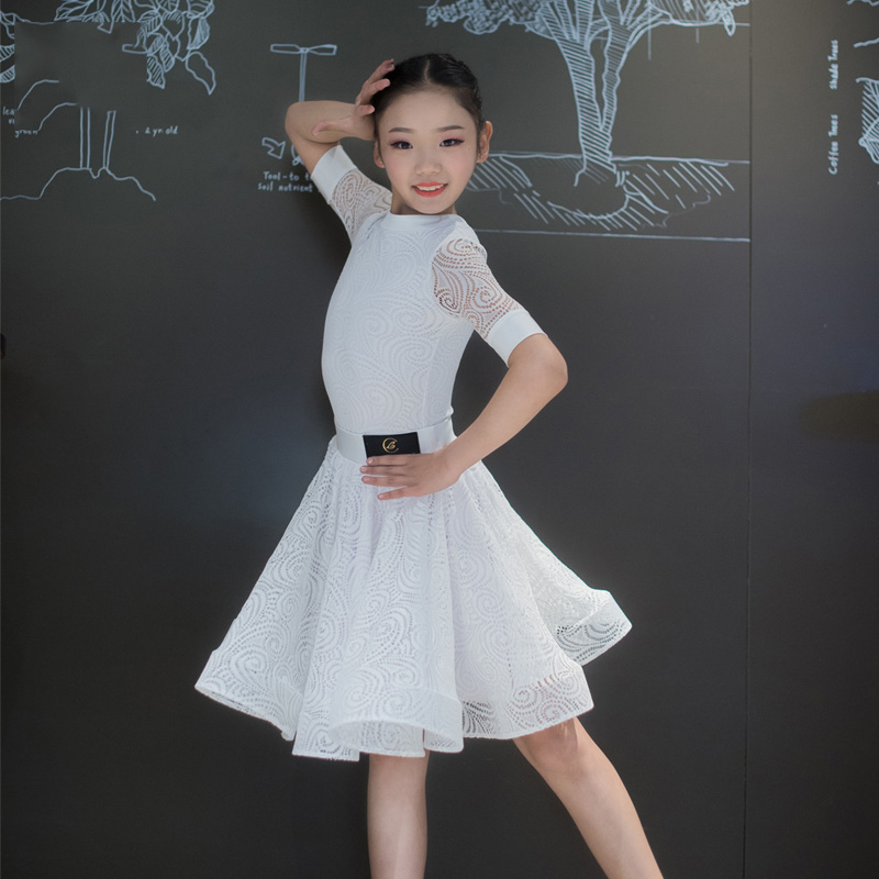 Slim Latin Dance Dress For Kids Girls White Lace Ballrom Tango Cha Cha Performance Dance Wear