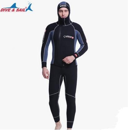 Tupla lämmin Professional 5MM 2-osainen neopreeni sukellus - Urheiluvaatteet ja -tarvikkeet
