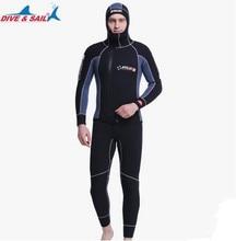 Double Warm Professional 5MM 2-Piece Neoprene Scuba Dive Wetsuit With Hood Zipper Split Spearfishing Wet Suit For Men Equipment