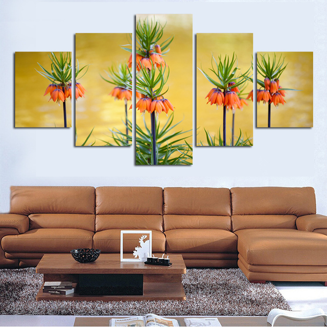 High definition prints bright flowers on canvas decorate sitting ...