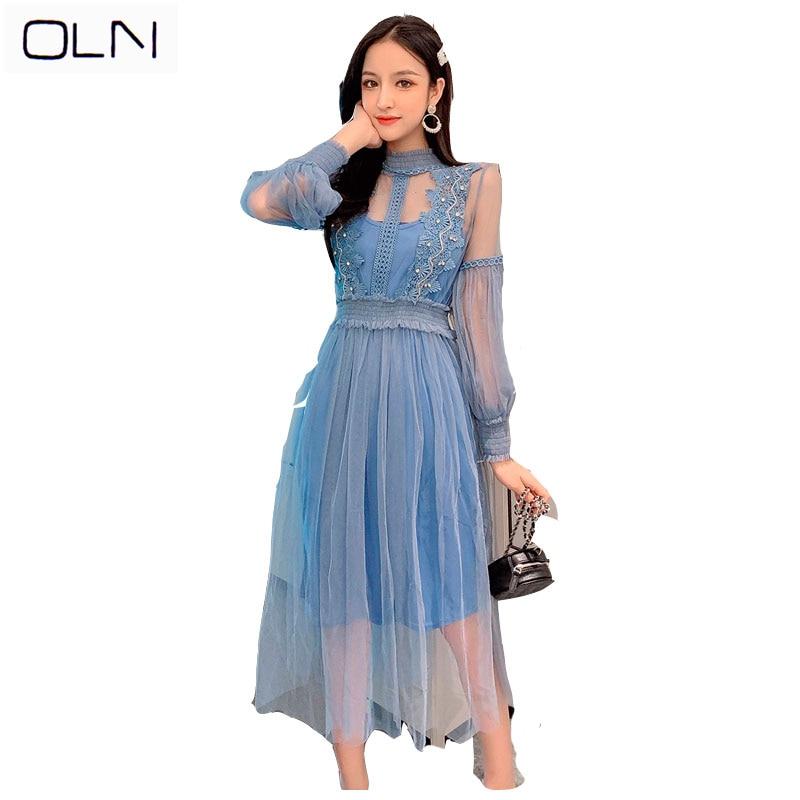 female fashion slim temperament long silk dress