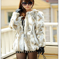 2016 Lady Genuine Real Rabbit Fur Coat Jacket Autumn Winter Women Fur Outerwear Coats Female Clothing VK3013
