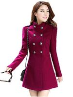 Plus Size 2015 Autumn Winter Women A Line Skirt Coat Double Breasted Slim Medium Long Solid
