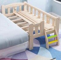Твердой древесины защиту окружающей среды кроватка детская маленькая кровать может быть соединены большая кровать