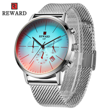 Watches Men 2019 Luxury Brand REWARD Mens Simple Casual Quartz Wristwatch Mesh Silver Strap Waterproof Male Clock Reloj Hombre