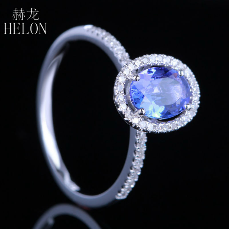 HELON 7x5mm Oval Shape 0.83ct Tanzanite Pave Natural 0.2ct Engagement Wedding Ring For Women's Jewelry Solid 10k White Gold палантин venera venera ve003gwxqy36