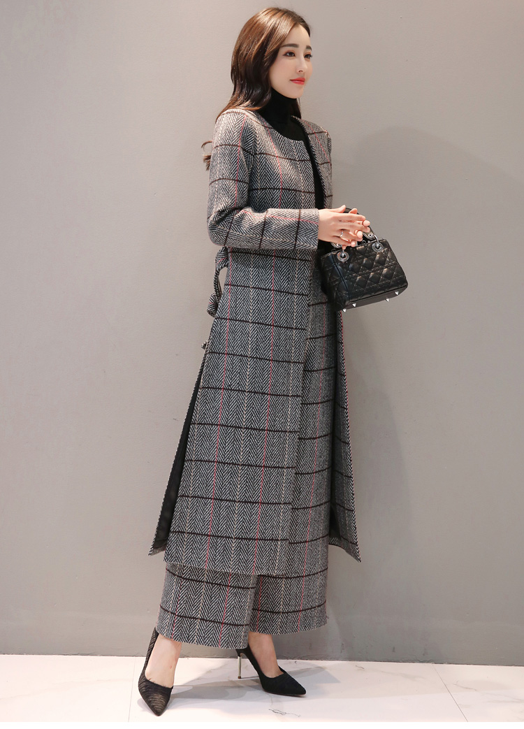 Knee Length Long Trench Coat and Wide Leg Trouser Autumn Winter Womens Casual Pantsuit Office Lady Plaid Two-piece Pants Suits