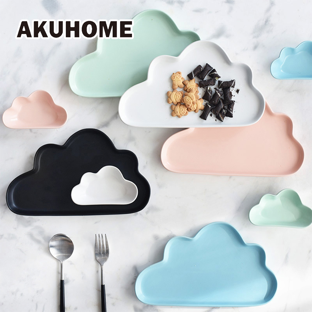 Pllakë qeramike Porcelani Cloud Rain Plate Matt Smooth Romance Cute Dish Darkaware Kid Children Baby
