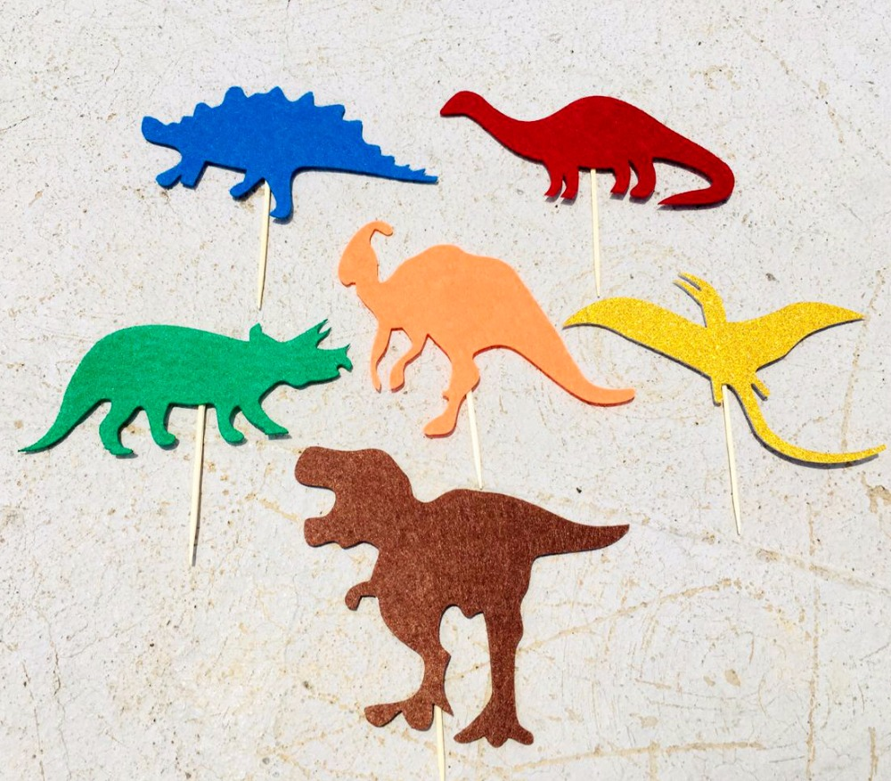 6pcs Pack Dinosaur Cake Toppers Premium T Rex Raptor Design Muffin Picks For Kids Birthday Party Unique Decorations In Decorating Supplies