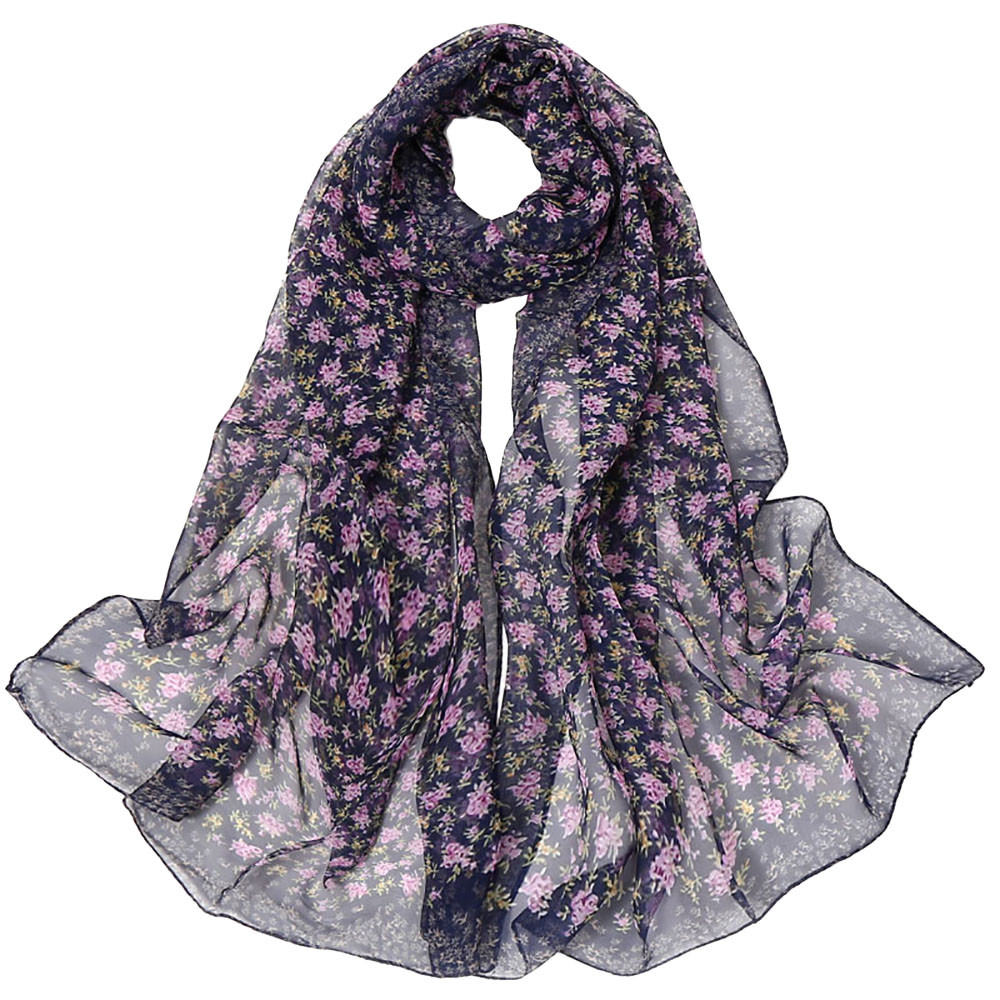 Bandana Girls Long Soft   Scarf   Summer Ladies Small Floral Print Chiffon   Scarves   Women Casual   Wrap     Scarf   Hijab From India #YL5