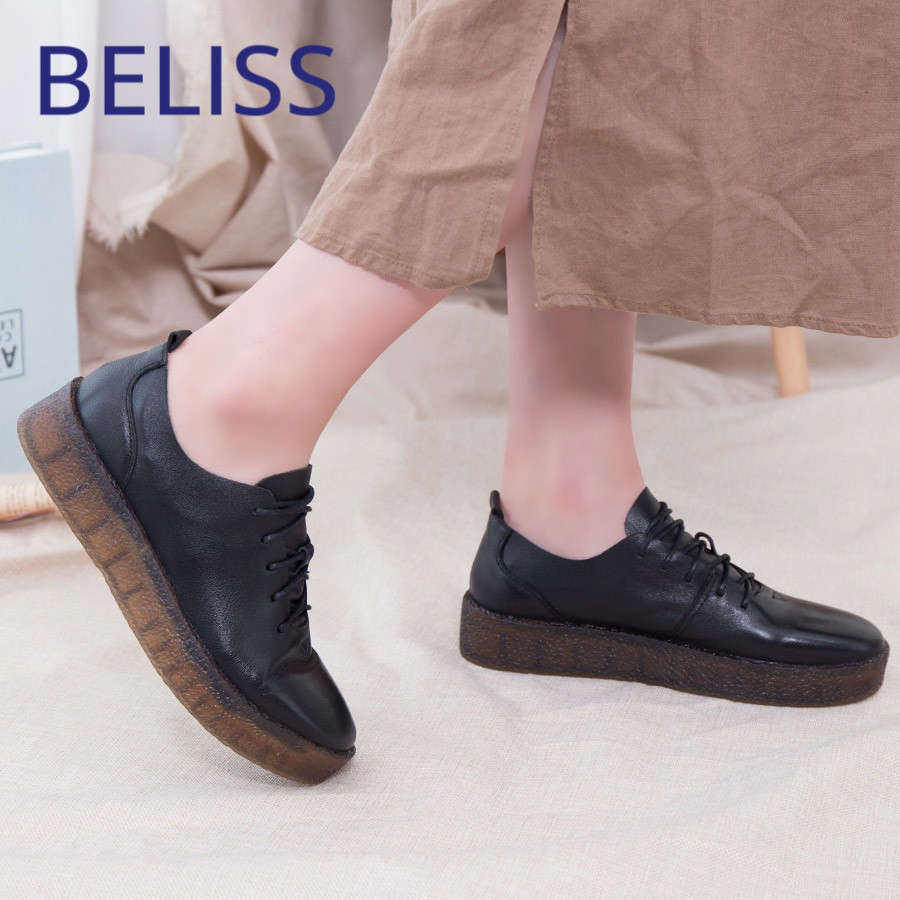 BELISS genuine leather flat shoes women lace-up fashion 2018 spring autumn soft cow comfortable ladies shoes flats woman P2 spring autumn soft bottom genuine leather comfortable flats large size women shoes flat with lace casual shoes elderly shoes