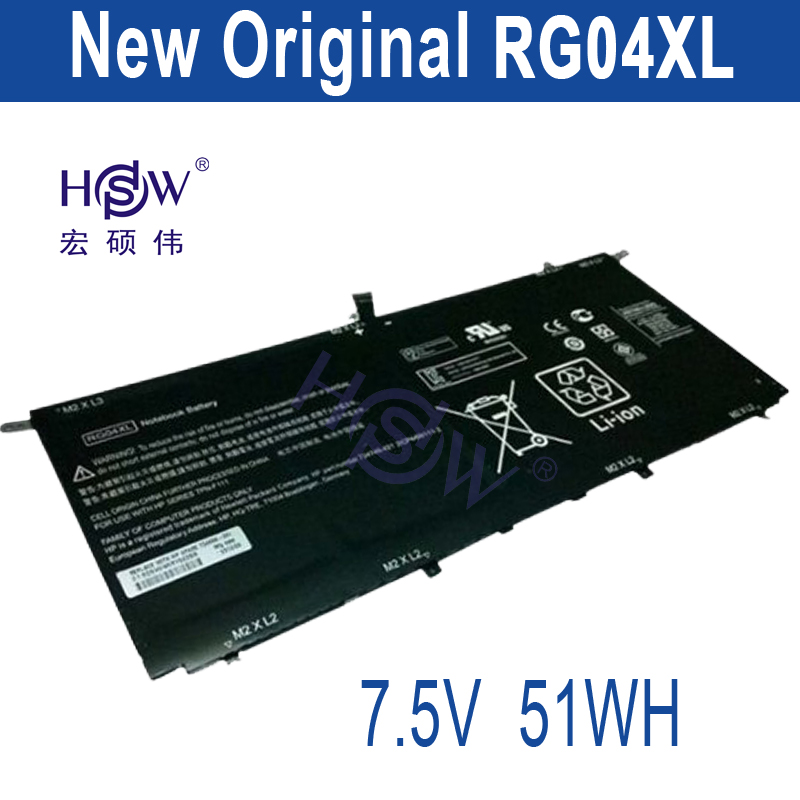 HSW New 7.5V 51Wh/ 6750mAh RG04XL Battery for HP Spectre 13-3000 13t-3000 RG04051XL HSTNN-LB5Q bateria akku