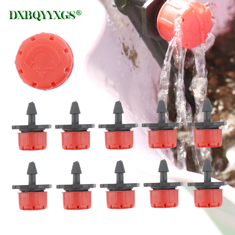 DXBQYYXGS 10Pcs Adjustable 1/4'' Red Dripper Garden Drip Irrigation Tool Plant Potted Agricultural Watering Nozzle 4/7 Mm Hose