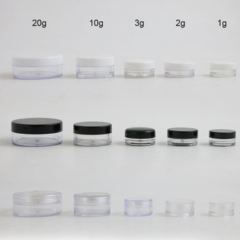 10PCS empty 1g 2g 3g 10g 20g Round Clear Transparent Plastic Container Cosmetic Cream Jar with clear black white cap sample