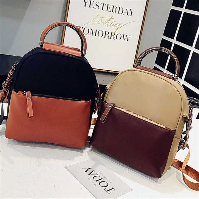Miyahouse Fashion Panelled Color Woman Backpack High Quality Pu Leather Lady Rucksack Casual Travel Bag For Teenage Girls #3