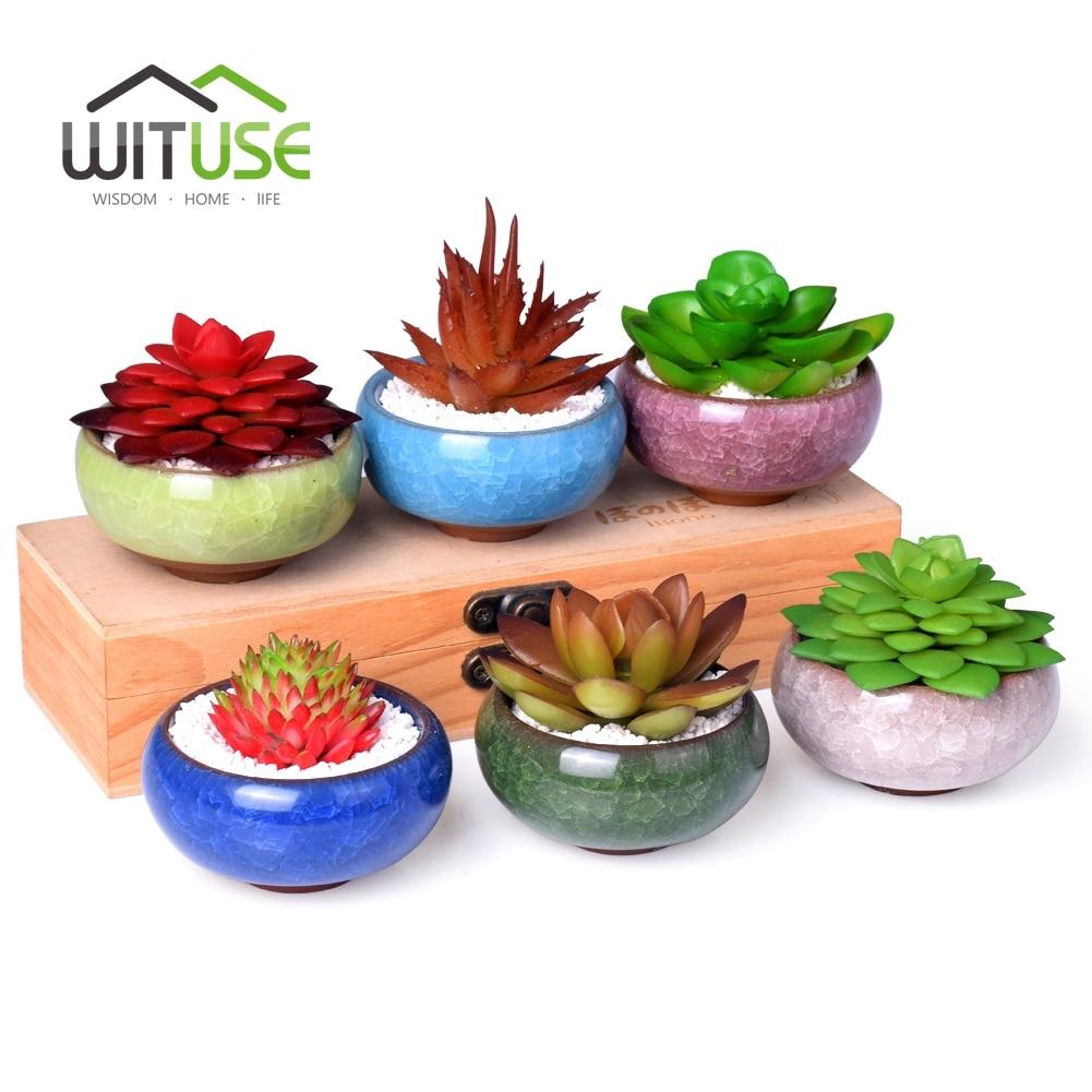 home Desk Ceramic micro garden Wedding mini Flowerpots round juicy plants vase flower pots container small bonsai pot