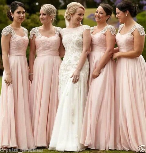 Custom Make Chiffon Bridesmaid Dresses Pop Cap-Shoulder Sweetheart Ruffles  Appliques Vestido Madrinha Full-Length Banquet Dress f568ca3849f3
