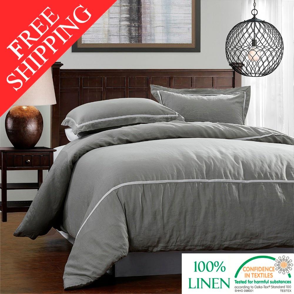 linen grey duvet products parachute cover gray set