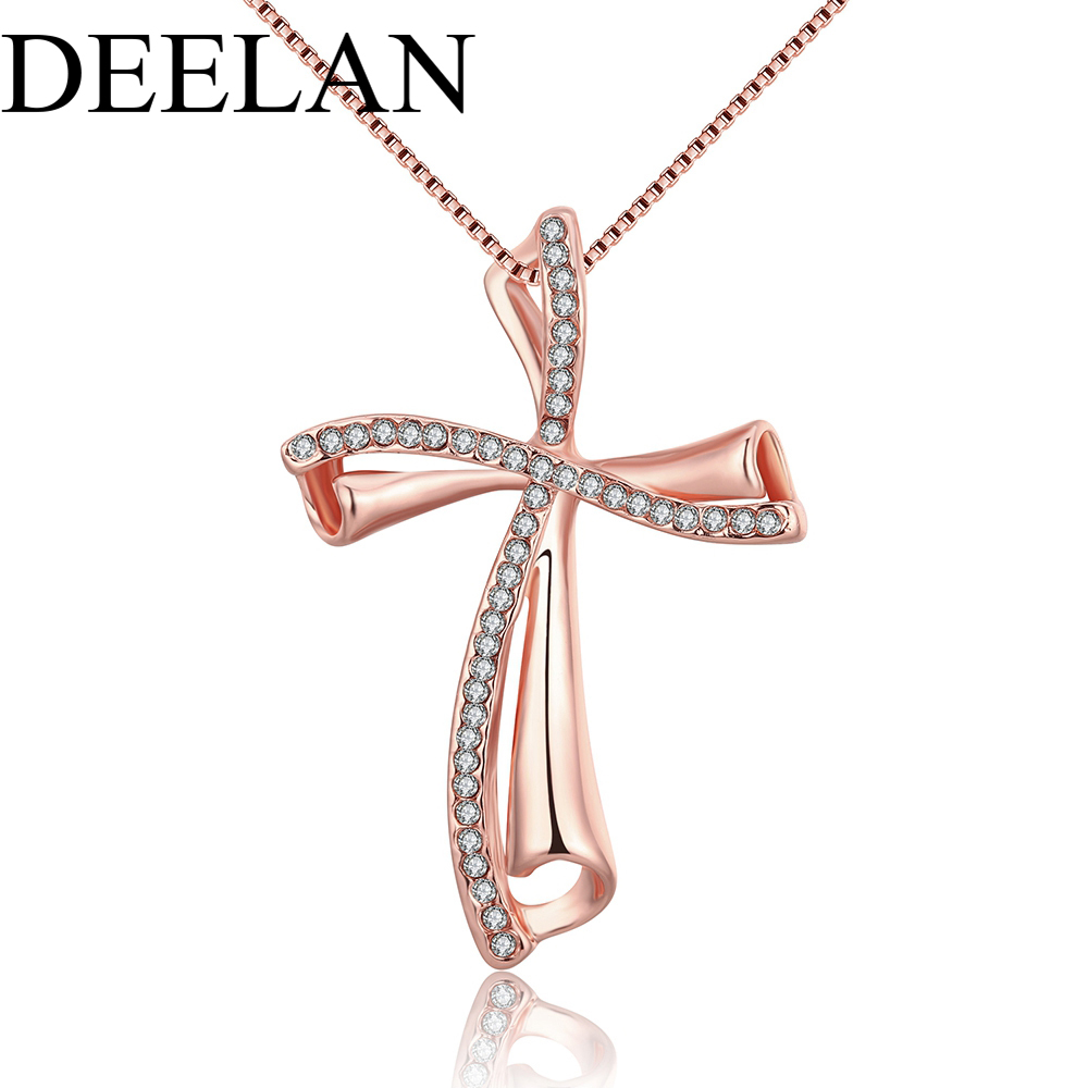 Trendy fashion luxury link chain gold color pendant necklaces women party wedding classic love girl crystal