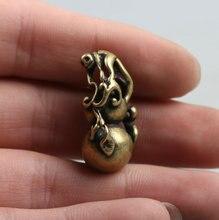 """29MM/1.1"""" Collect Curio Rare China Fengshui Small Bronze Exquisite Lagenaria Siceraria Calabash Cucurbit Gourd Pendant Statue15g"""